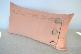 Blush Pink/Nude Oblong / Rectangular Cushion Cover Button & Loop 12 x 22""