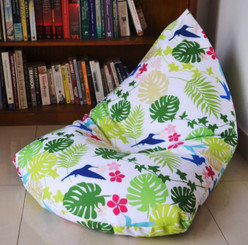 LARGE Waterproof BEAN BAG Cover In/ Outdoor Tropical, Leaves