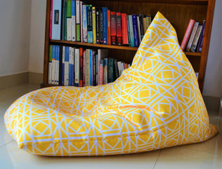 LARGE Waterproof BEAN BAG Cover In/ Outdoor  Yellow Abagail