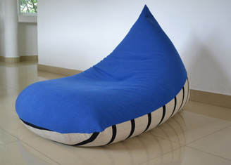 Cobalt blue, black stripes BEAN BAG Cover, COTTON Handloom, LARGE