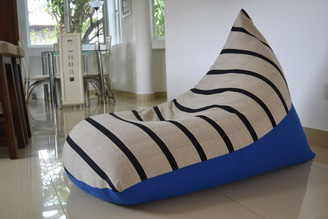 Large BEAN BAG Cover, COTTON Handloom, Black stripes, Blue