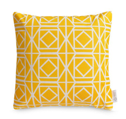 Lemon Yellow Geometric Cushion Cover | Bright Yellow Moroccan Throw Pillow | ZAHAARA Sanctuary