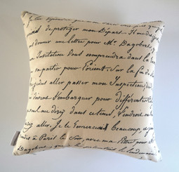 """""""Odessa""""  Vintage Script/Bicycle Cushion Cover Raw Cotton"""