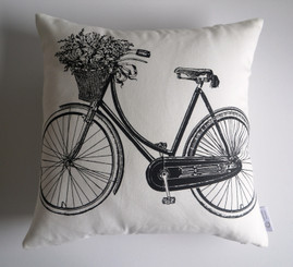 """""""Odessa"""" Bicycle/Script WATERPROOF OUTDOOR Cushion Cover Raw Cotton"""