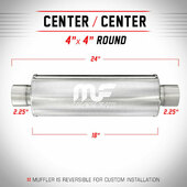 """Magnaflow 10425 - Stainless Resonator - 4"""" Round Body, 2.25"""" In/Out, 18"""" Length"""