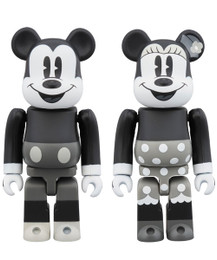 BE@RBRICK - Mickey Mouse & Minnue Mouse 100% (B & W Ver.) 2 Pcs Set