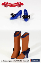 MS-009 - MIO Pullip High Heels (Blue) x Boots (Brown)