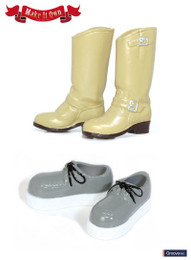 MS-003 - MIO Pullip Engineer Boots (Beige) x Crepe Sole Shoe (Gray)