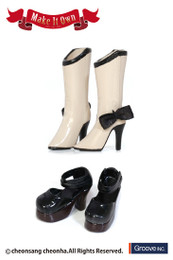 MS-002 - MIO Pullip Boots (Beige) x Strap Shoes (Black)