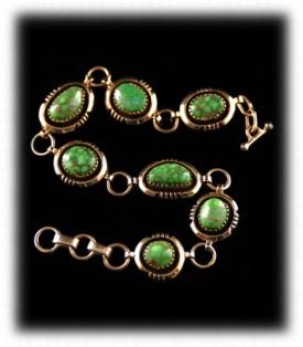 Gold Carico Lake Turquoise Link Bracelet