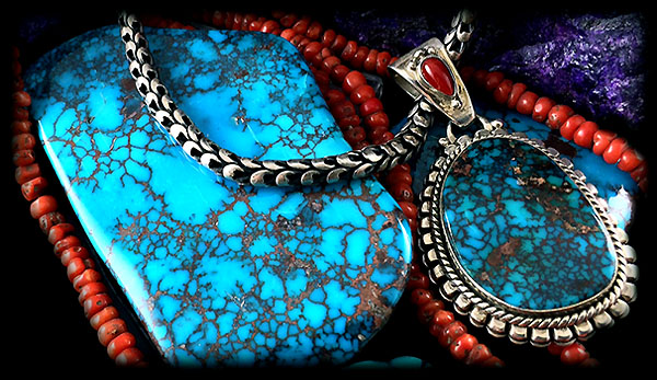 Spiderweb Turquoise Cabochons - Bisbee Turquoise
