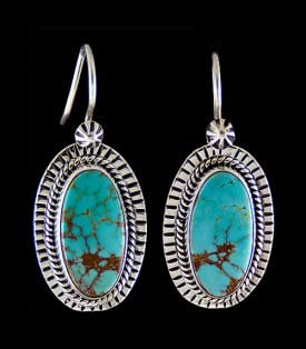 Handmade Sterling Silver drop earrings with Basalt Turquoise from Nevada, USA