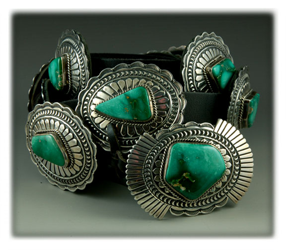 Native American handmade Sterling Silver concho belt with natural Broken Arrow variscite from Nevada.