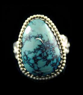 Artisan handmade Sterling Silver ring with natural Blue Goose Turquoise from Nevada