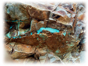 Pilot Mountain Turquoise in the host rock