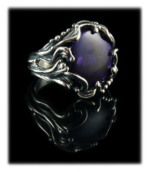 Lost Wax Technique ring with Sugilite