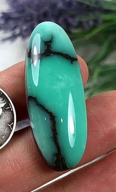 High grade cabochon of natural Desert Bloom Variscite