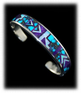 Silver cuff bracelet with inlay