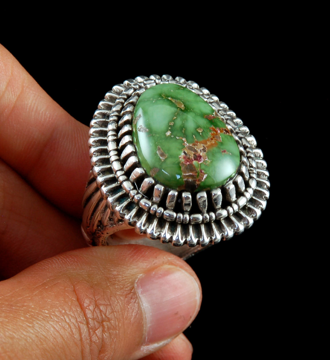 Sterling Silver statement ring with Carico Lake Turquoise by John Hartman