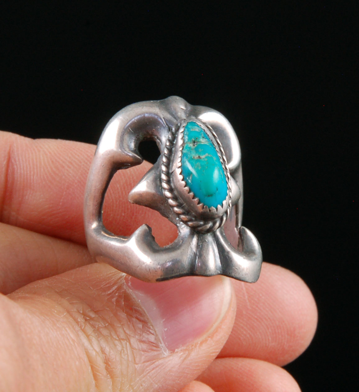 Sandcast Sterling Silver ring with Stabilized Kingman Turquoise from Arizona
