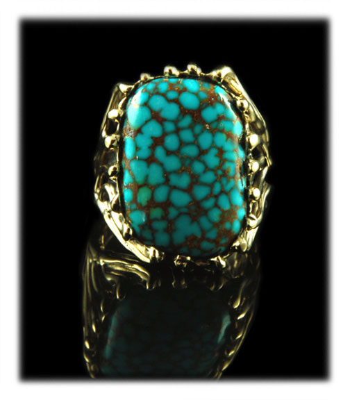 Number Eight Turquoise and Gold Ring