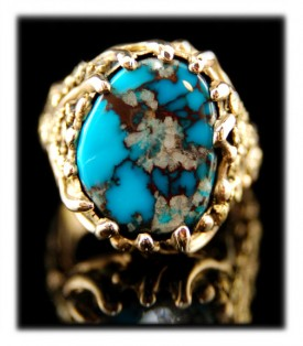 Gold Turquoise Ring with Bisbee Turquoise