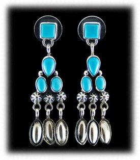 Turquoise Dangle Earrings with natural Sleeping Beauty Turquoise from Arizona