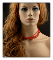 Six Strand Red Coral Bead Necklace
