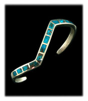 Inlay Lightening Bracelet with Bisbee Turquoise