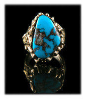 High grade natural Bisbee Turquoise and gold nugget ring by John Hartman