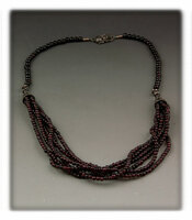 Multi Strand Round Garnet Bead Necklace