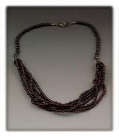 Multi Strand Round Garnet Bead Necklace