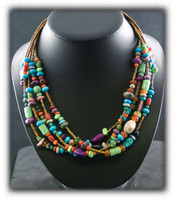Five Strand Earth Tone Gemstone Bead Treasure Necklace