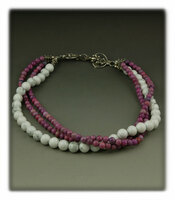 White Turquoise and Purple Quartz Bead Necklace