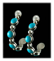 Blue Turquoise Hoops
