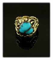 14k Gold and AAA Grade Bisbee Turquoise Ring