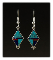Spring Color Inlay Dangle Earrings