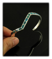 High Grade Bisbee Turquoise Inlay Lightening Bracelet
