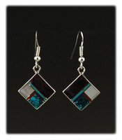 Diamond Shaped Drop Earrings with Multi Color Inlay