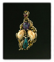 Organic 14k Gold and Gemstone Pendant