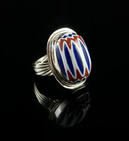 Handmade Sterling Silver and Chevron Trade Bead Ring by Dillon Hartman.