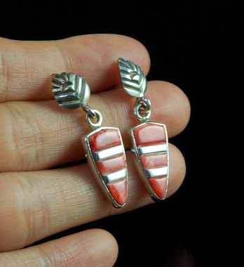 Orange Spiny Oyster Shell Inlay Dangle Earrings