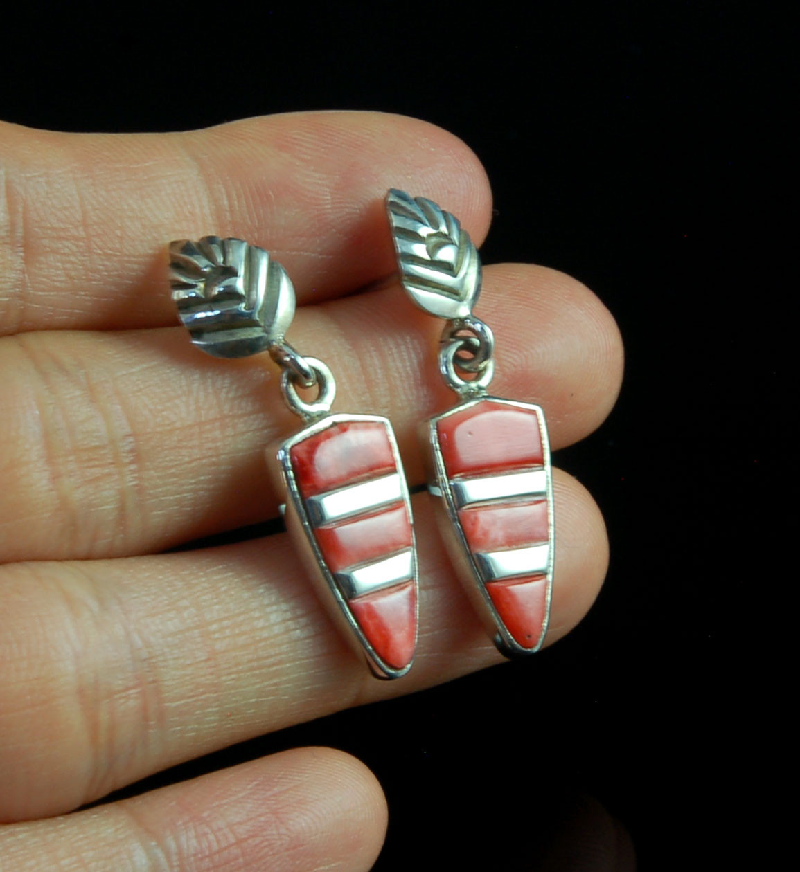Native American Indian Sterling Silver Diamond Shape Spiny Oyster Post Earrings!
