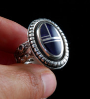 Sugilite Inlay Rock Art Silver Band Ring