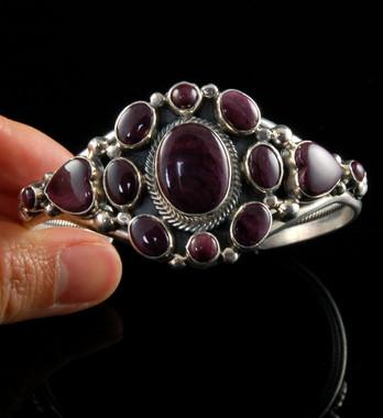 Purple Spiny Oyster Sterling Silver Bracelet
