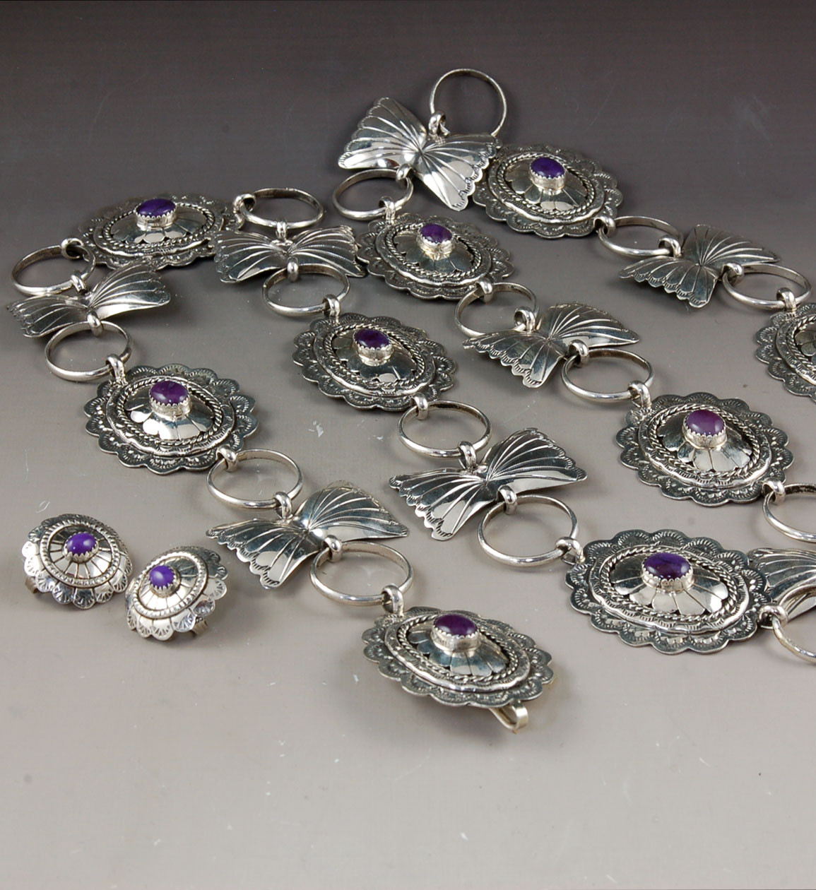 Sugilite And Sterling Silver Concho Belt