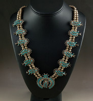 1960's Zuni Turquoise Cluster Squash Blossom Necklace