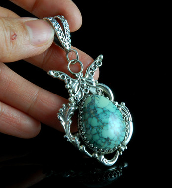 Victorian Style Sterling Silver and Damele Pendant