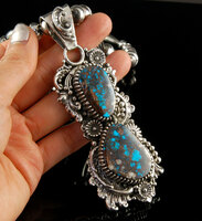 Rare Natural Red Web Bisbee Turquoise Pendant