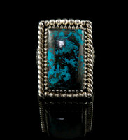 High grade Shattuckite and Sterling Silver ring by John Hartman.